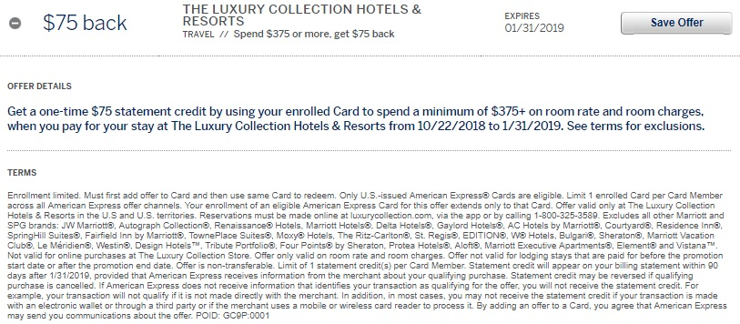 The Luxury Collection Hotels & Resorts Amex Offer