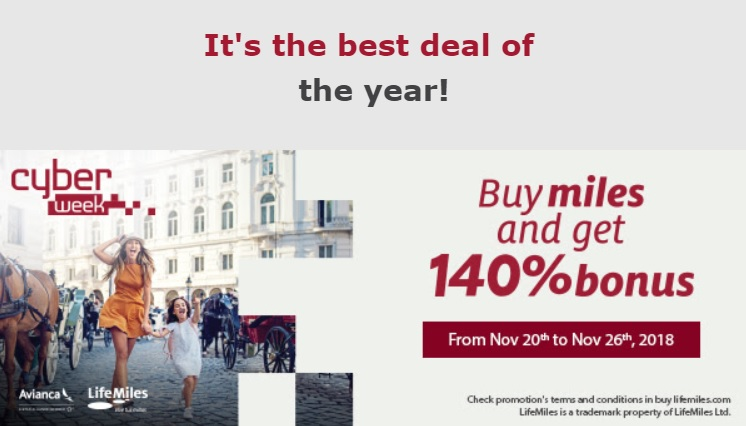 Avianca LifeMiles Sale 140%