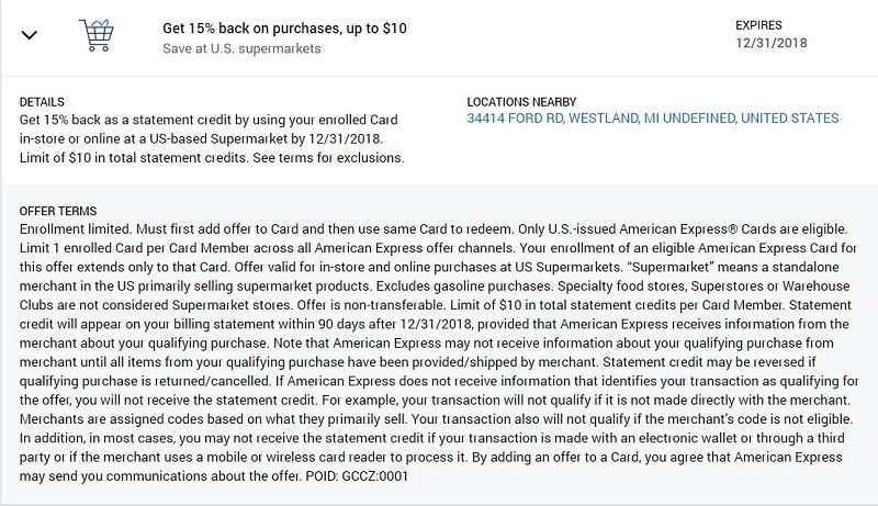 US Supermarket Amex Offer