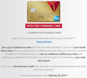 Gold Delta SkyMiles Credit Card 75,000 Miles