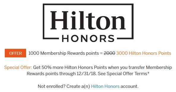 Hilton Honors Membership Rewards Transfer Bonus
