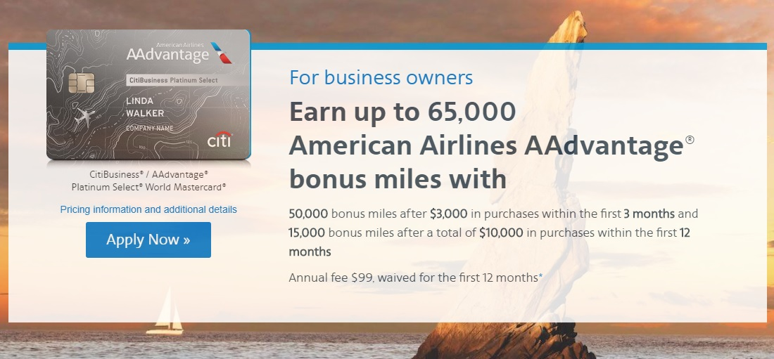 CitiBusiness AAdvantage Platinum Select World Mastercard 65,000 miles