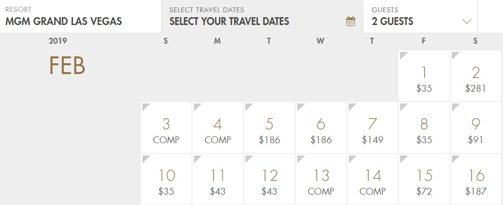 MGM Grand Las Vegas February