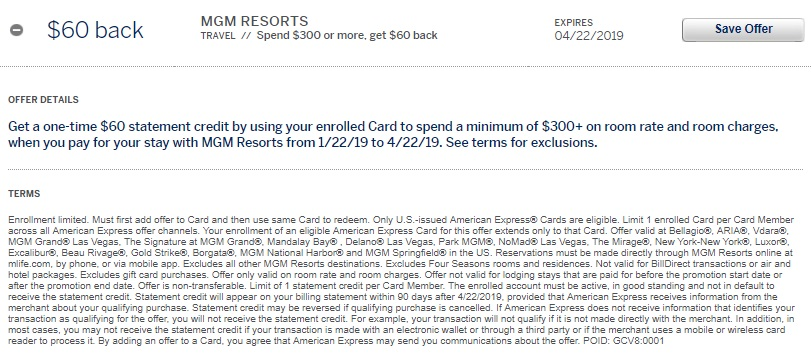 MGM Resorts Amex Offer $60 Back