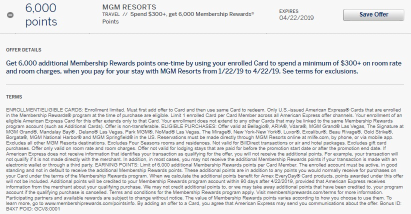 MGM Resorts Amex Offer 6,000 Membership Rewards