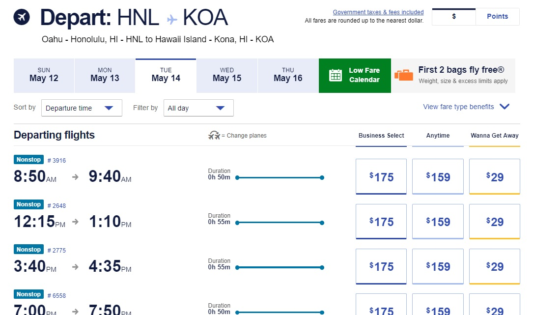 Southwest to Hawaii, more details