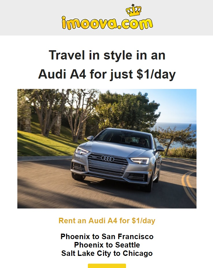 EXPIRED) Relocate Silvercar Audi A4's for $1 per day [Limited dates