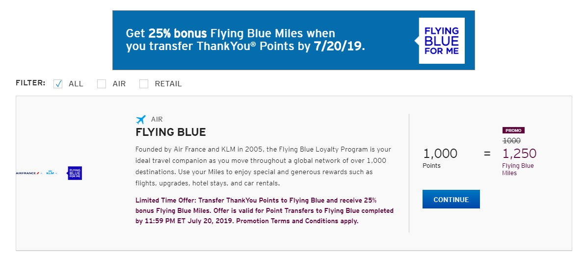 Transfer bonus TY to Flying Blue to 7-20-19