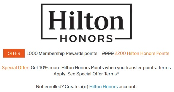 Amex Membership Rewards Hilton Transfer Bonus