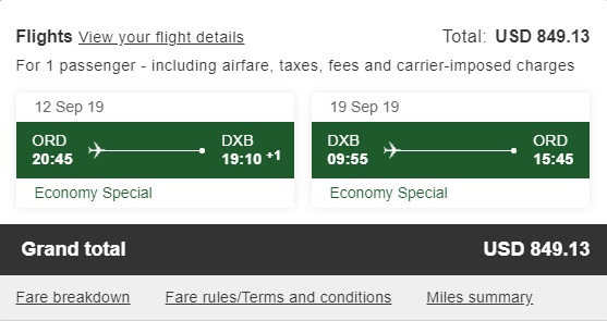 Emirates ORD-DXB total