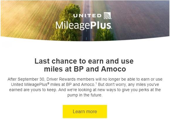United & BP Partnership Ending