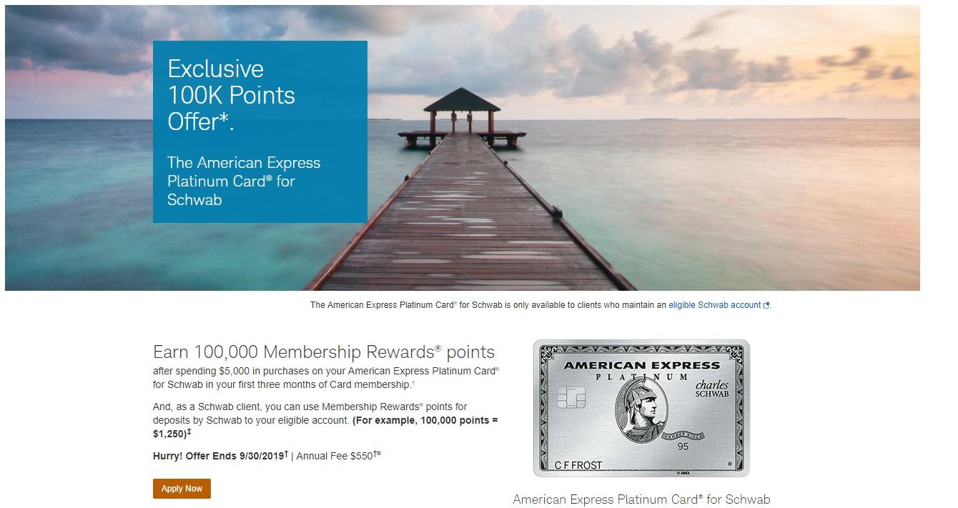 Targeted 100K offer for Schwab Platinum