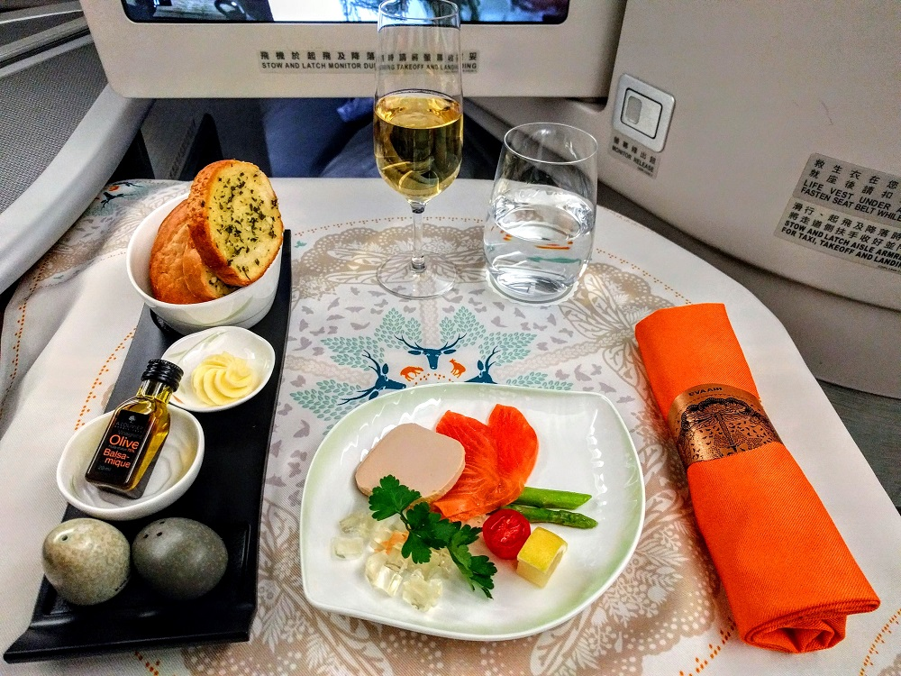 EVA Air business class hors d'oeuvres