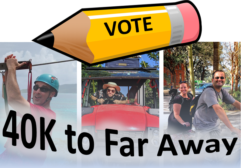 Vote for your favorite 40K to Far Away trip!