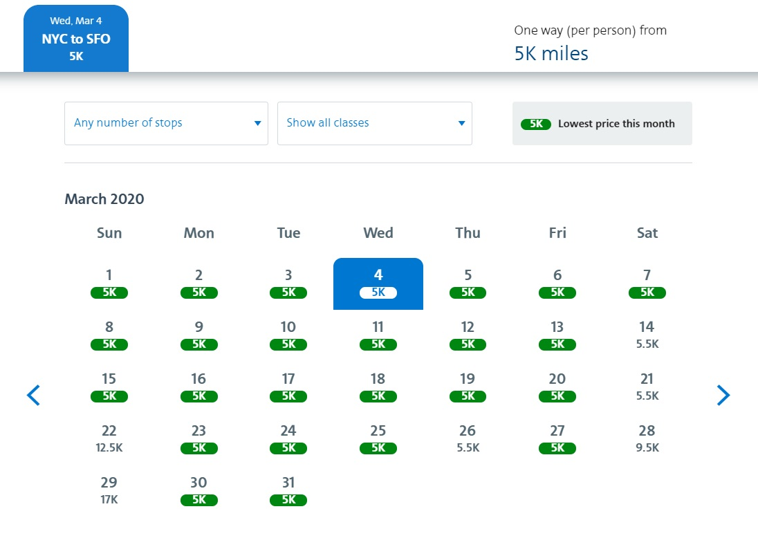 5K awards widespread on American Airlines