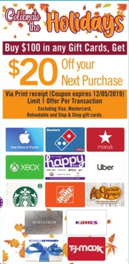 Stop & Shop $20 Off $100 Gift Cards