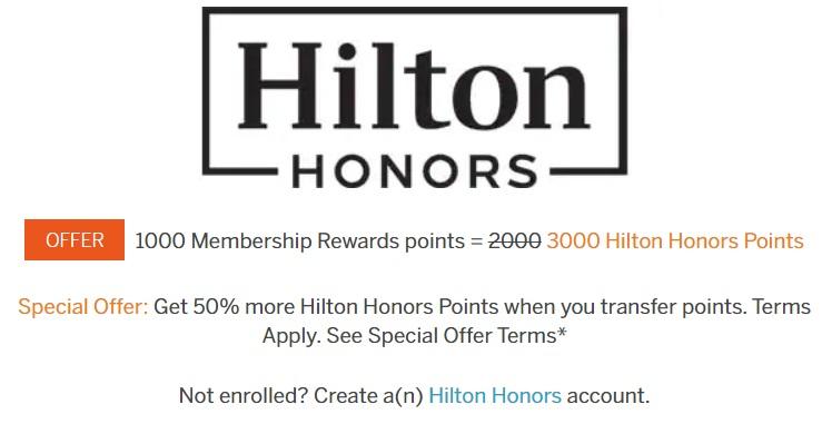 Amex Hilton Transfer Bonus