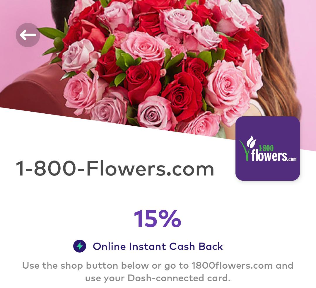 1-800-Flowers Dosh 15% Cashback