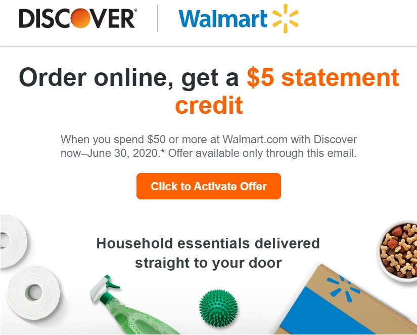 Discover Walmart $5 Statement Credit
