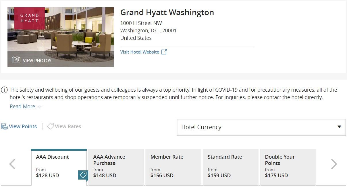 Grand Hyatt Washington DC - no discount