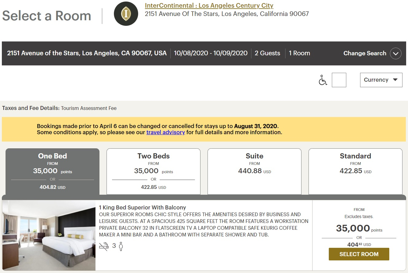 InterContinental Los Angeles Century City Paid Rate
