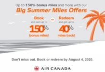 Air Canada Big Summer Miles Offers