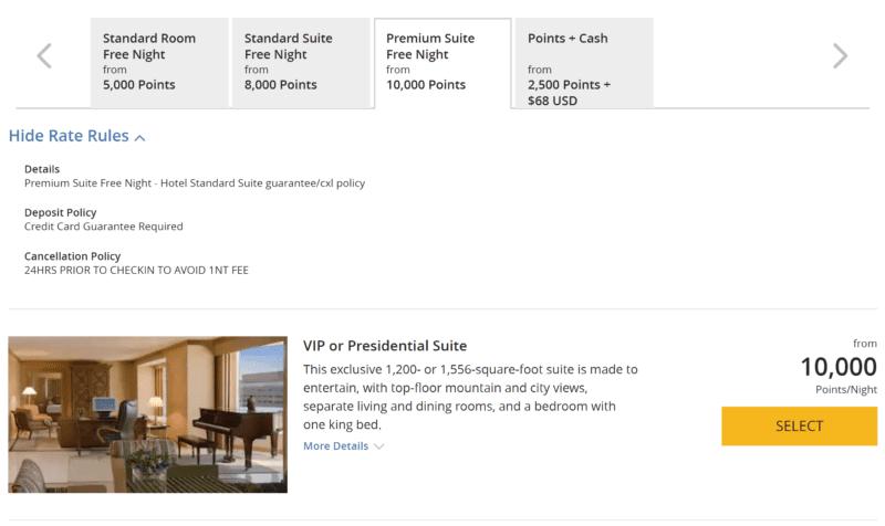 Booking Hyatt Suite Rewards Online