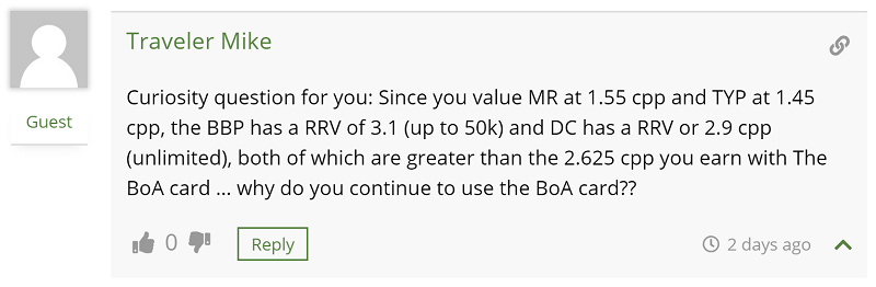 Reader question: Why do you continue to use the BoA Card?