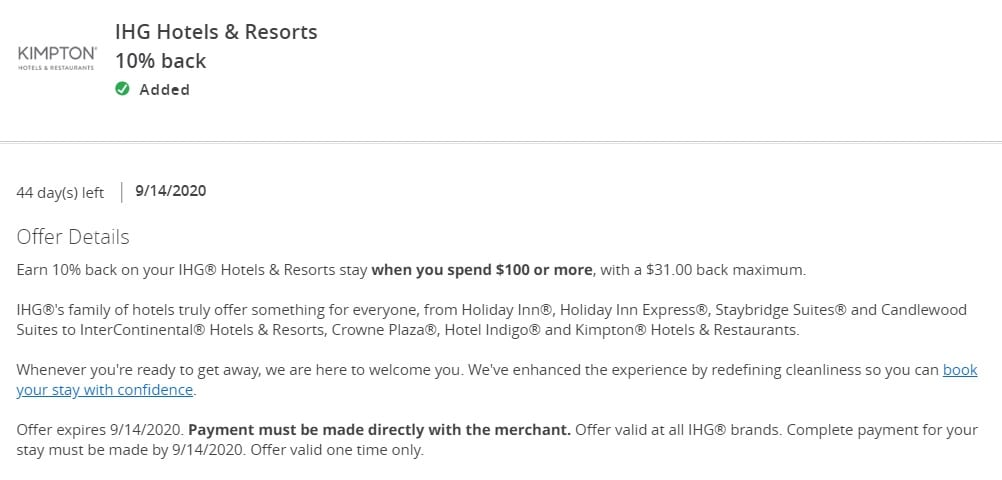 IHG Chase Offer 10% Back 08.31.20