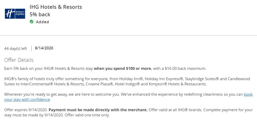 IHG Chase Offer 5% Back 08.31.20