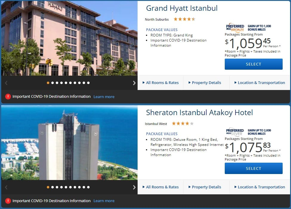 Delta Vacations NYC-IST slightly more expensive hotels