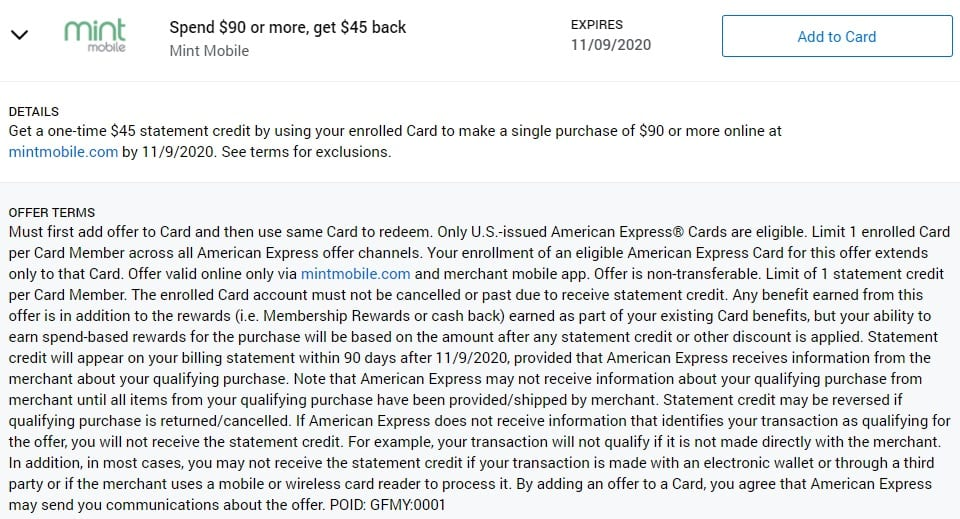 Mint Mobile Amex Offer