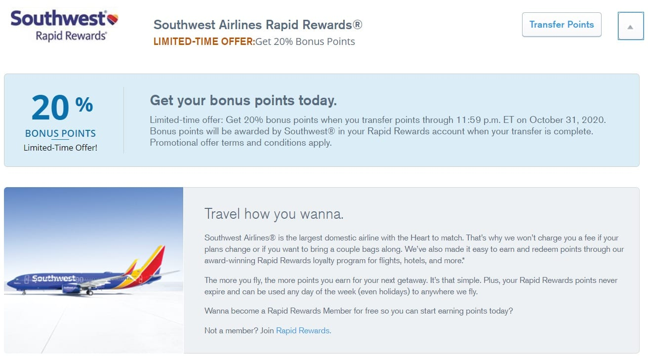 Chase Ultimate Rewards Southwest Transfer Bonus