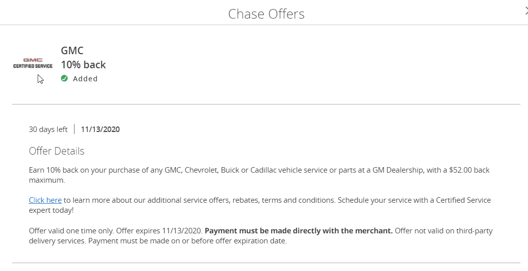GMC Chase Offer