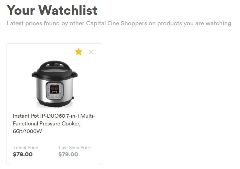 Capital One Shopping Watchlist