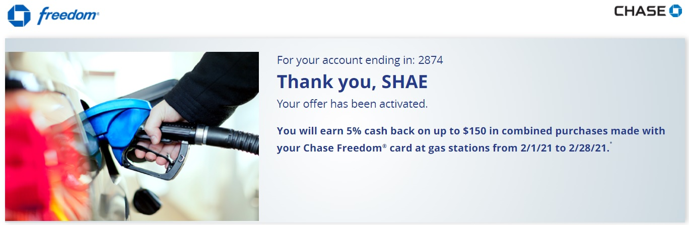 Chase Freedom 5% Gas
