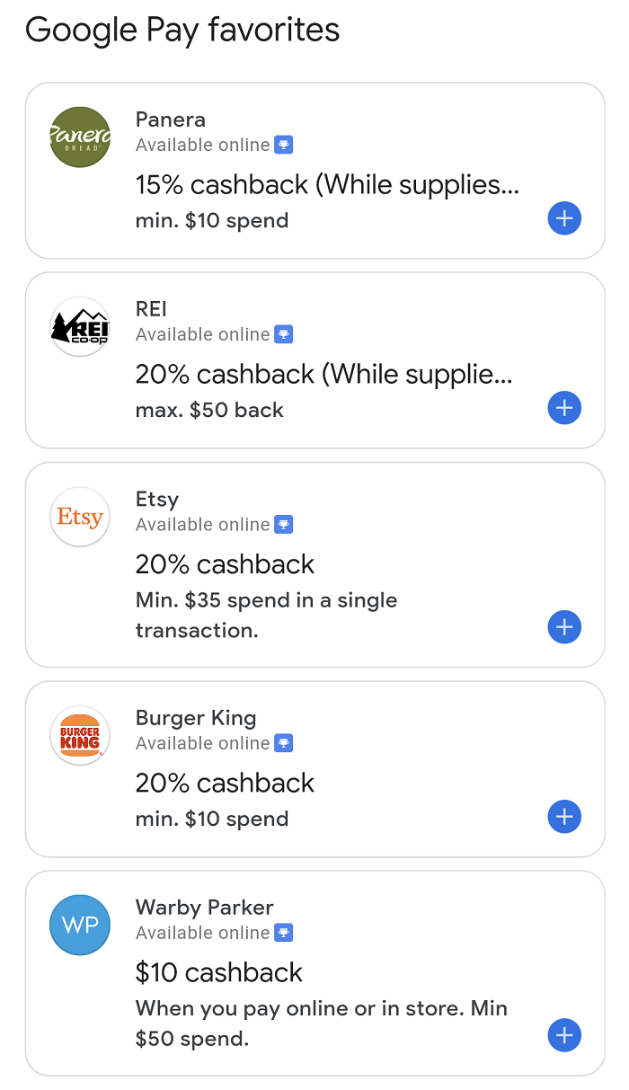 Google Pay card-linked offers