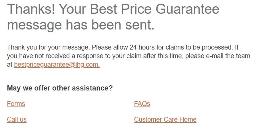 IHG Best Rate Guarantee claim form 6