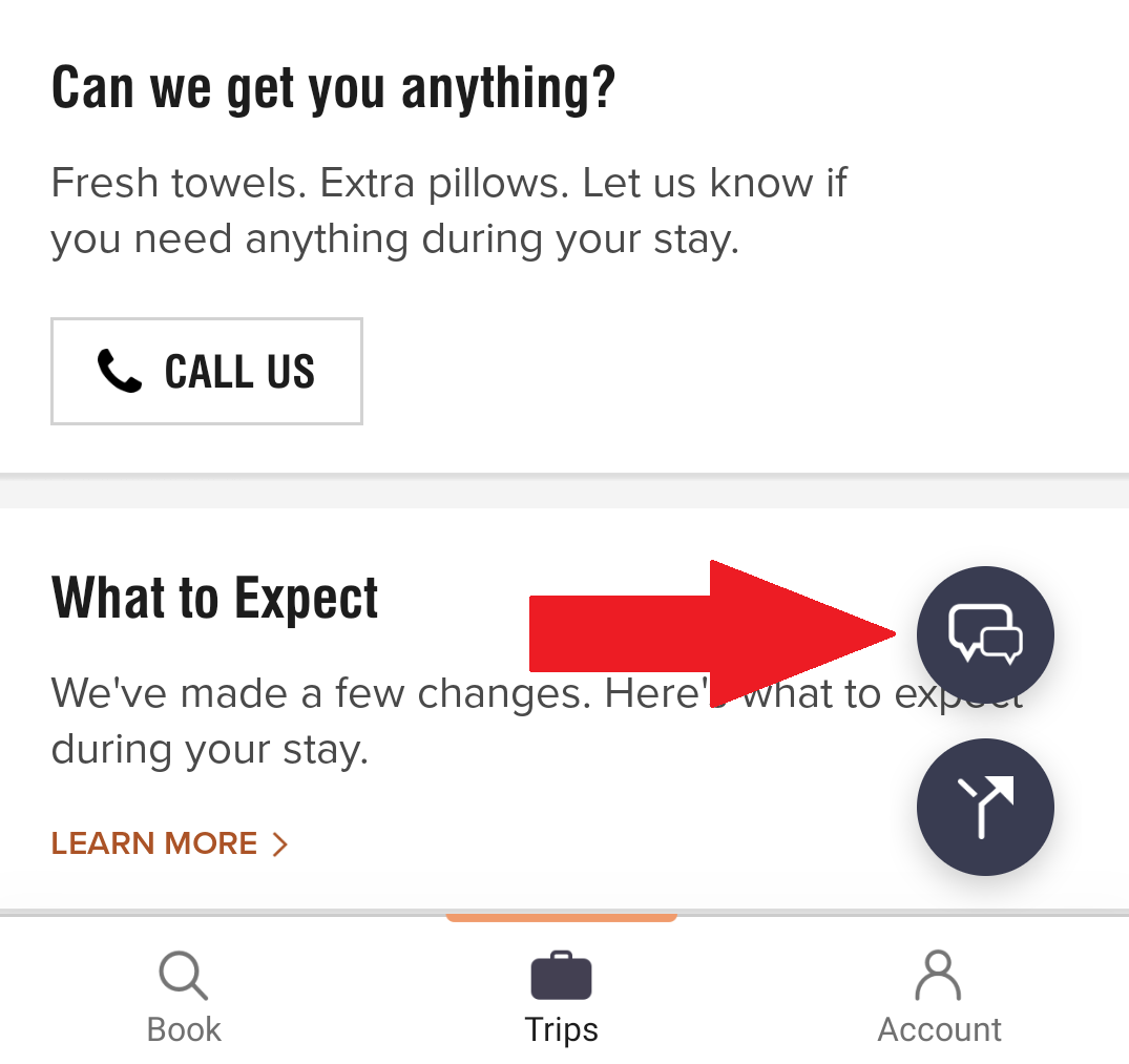 Marriott app chat feature
