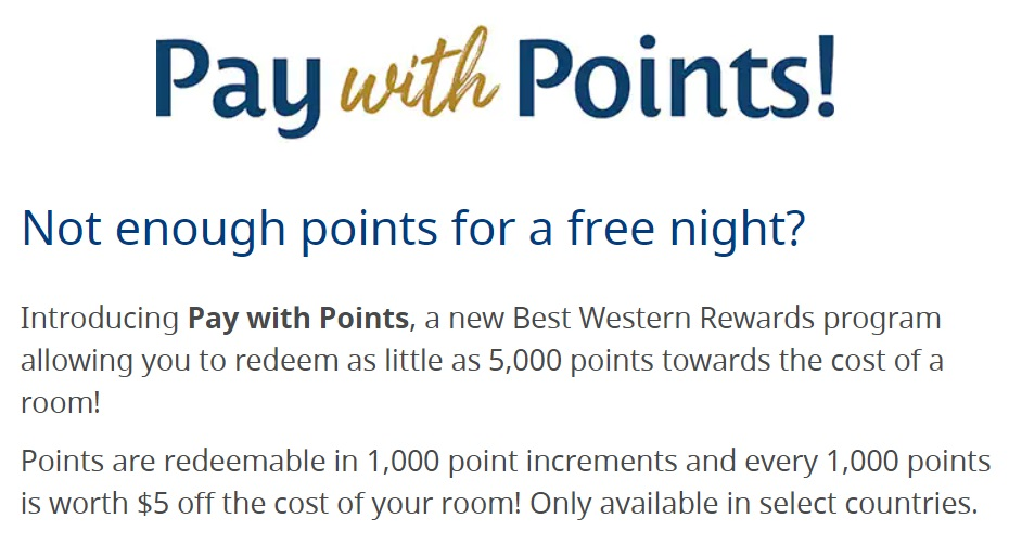 Best Western Introduces Pay With Points Feature (Redeem Points For 0.5cpp)