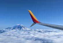 Southwest airplane Mt Rainier Wing Clouds